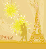 Romantic couple in Paris kissing near the Eiffel Tower. Illustration Royalty Free Stock Image