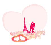 Romantic couple in Paris kissing near the Eiffel Tower. Retro card. Royalty Free Stock Images