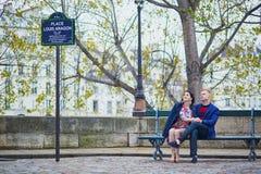 Romantic couple in Paris near the Seine Royalty Free Stock Image