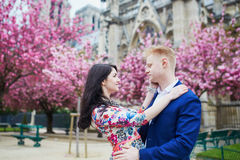 Romantic couple in Paris on a spring day Royalty Free Stock Images