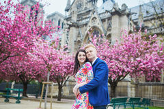 Romantic couple in Paris on a spring day Stock Images