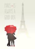 Romantic couple in Paris Stock Images