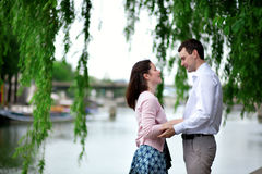 Romantic couple in a Parisian park Stock Photography