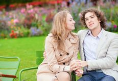 Romantic couple in a Parisian park Stock Images