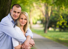 Romantic couple in the park. Royalty Free Stock Photography