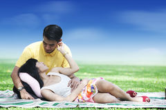 Romantic couple in the park Stock Photography