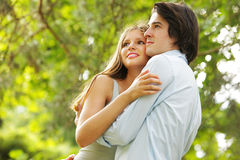 A romantic couple in the park Stock Photography
