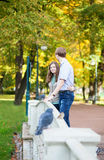 Romantic couple in park Royalty Free Stock Images