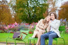 Romantic couple in a park Stock Image