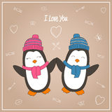 Romantic couple Penguin. Valentines day card with romantic couple Penguins. Penguins boy and girl. Vector illustration Stock Photos