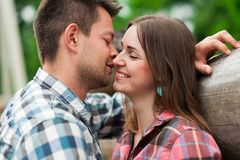 Romantic couple photo. Hugs together. Portrait of a happy couple laughing.Young couple in love outdoors. Summer holidays, love Royalty Free Stock Image