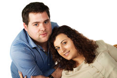 Romantic couple portrait. Portrait of a young boyfriends couple in studio Stock Image