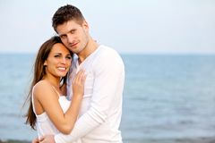 Romantic Couple Posing at the Beach Royalty Free Stock Image
