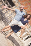 Couple of lovers in loving attitude. Romantic couple with positive attitude and lovers stock photography