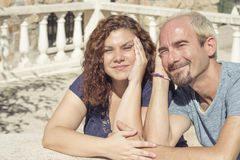 Couple of lovers in loving attitude. Romantic couple with positive attitude and lovers stock photos