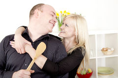 Romantic couple preparing a meal Royalty Free Stock Image