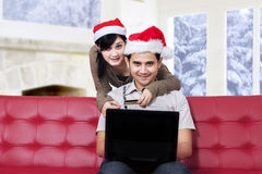 Romantic couple purchase online Stock Photo