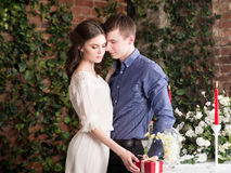 Romantic couple with red gift present box. Romance relationship Royalty Free Stock Images