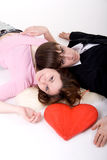 Romantic couple with red heart Royalty Free Stock Image