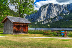 Romantic couple relaxing in summer near lake,Altaussee,Austria,Europe Stock Photo