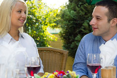 Romantic couple in restaurant Stock Photo