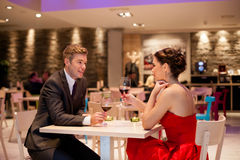 Romantic couple in restaurant Royalty Free Stock Photo