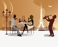 Romantic couple in the restaurant with a musician. Eiffel Tower Stock Photography