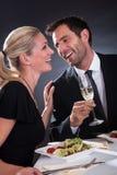 Romantic couple at the restaurant Stock Photo