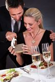 Romantic couple at the restaurant Royalty Free Stock Image