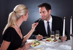 Romantic couple at the restaurant Royalty Free Stock Photo