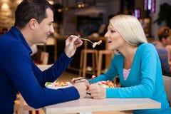 Romantic  couple in restaurant Royalty Free Stock Photos