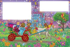 Romantic couple riding to the fairy tale castle. Fairy tale happy ending scene with romantic couple riding to the royal castle ; art with templates for the text Royalty Free Stock Image