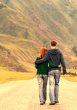 Romantic couple road Royalty Free Stock Images