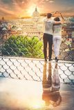 Romantic couple in Rome city, Italy. Loving relationship. Passion and love Royalty Free Stock Photo
