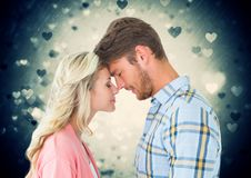 Romantic couple rubbing nose each other royalty free stock photography