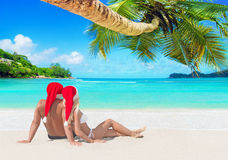 Romantic couple in Santa hats tanning at island palm beach royalty free stock image