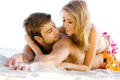 Romantic couple on the seaside Stock Photo