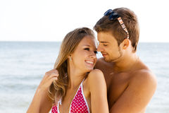 Romantic couple on the seaside Stock Photos