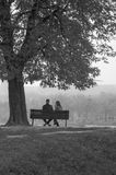 Romantic Couple seating on the bench Stock Photo