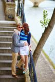 Romantic couple at the Seine embankment Royalty Free Stock Image