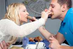 Romantic couple share their breakfast Royalty Free Stock Photography
