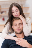 Romantic couple sharing a loving moment Stock Images