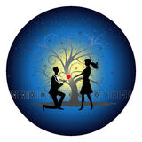 Romantic couple silhouette Royalty Free Stock Photography