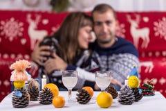 Romantic Christmas Couple Stock Photos