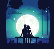 Romantic Couple Sitting on Seaside Under Moonlight. Surrounded by lovely family of hairs and hedgehog. Vector illustration with man and woman in love vector illustration