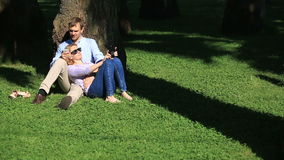 Romantic couple sitting under a palm tree. A girl on the lap of a guy. A loving couple resting in a park on the grass. Under a tree stock footage