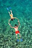 Romantic Couple Snorkeling Stock Photos