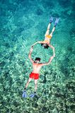 Romantic couple snorkeling in Thailand royalty free stock image