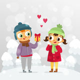 Romantic couple - St. Valentine's Day vector greeting card design Stock Image