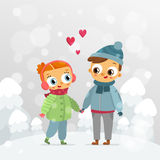 Romantic couple - St. Valentine's Day vector greeting card design Royalty Free Stock Photos